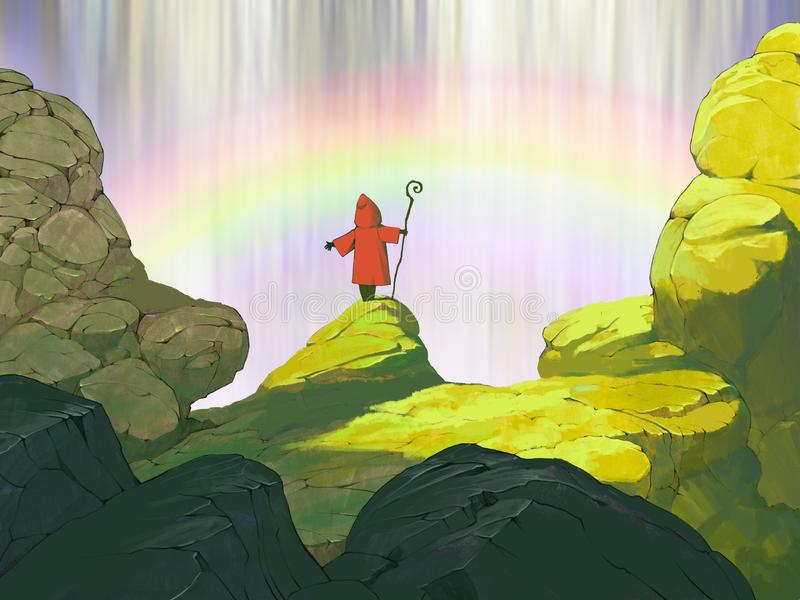 Original fantasy hand drawn illustration of a beautiful waterfall background stock illustration