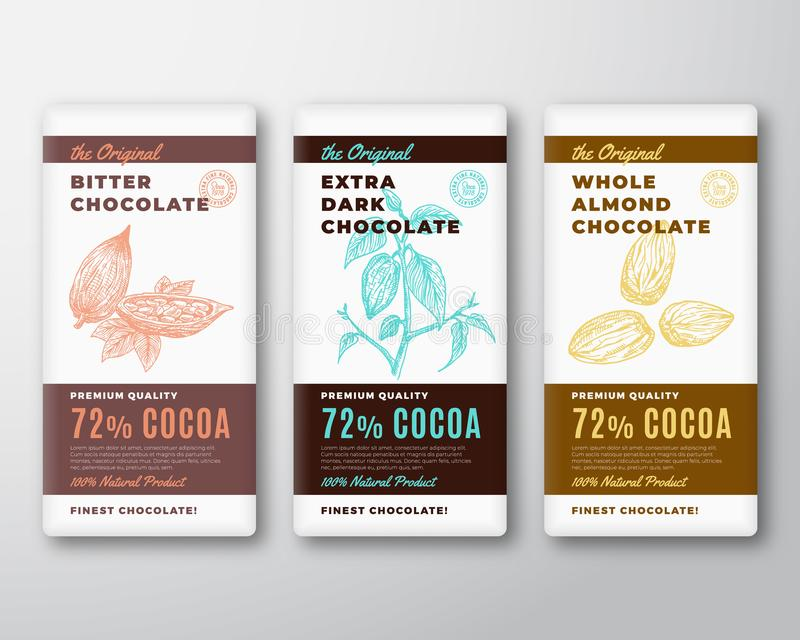 The Original Finest Chocolate Abstract Vector Packaging Design Label. Modern Typography and Hand Drawn Cocoa Branch with vector illustration