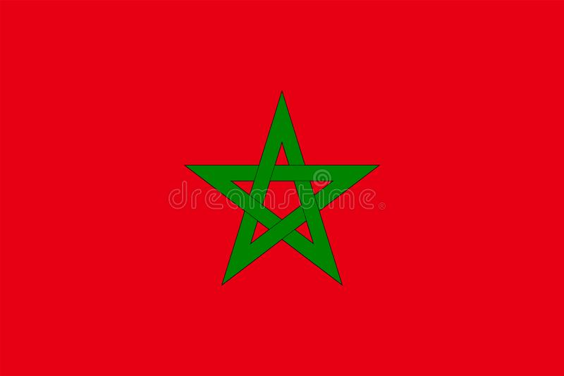 The Original Flag Of Morocco,Vector Illustration The Color Of The Original,  Official Colors and Proportion Correctly, Isolate stock illustration