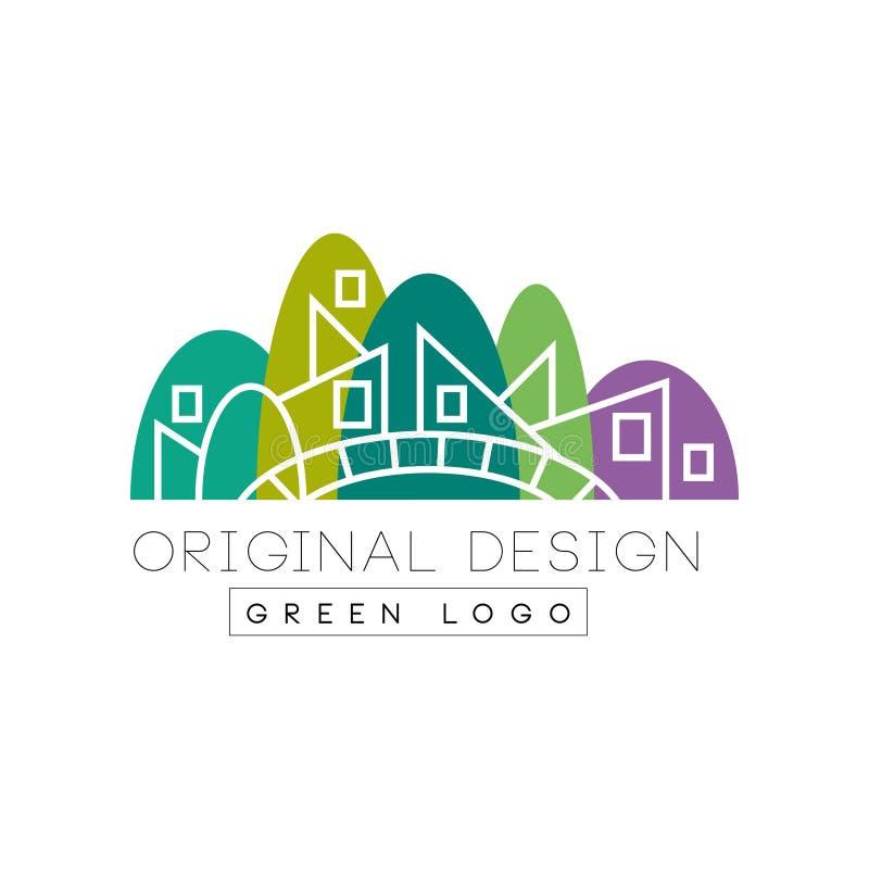 Original flat landmark with green park, bridge and linear vector illustration