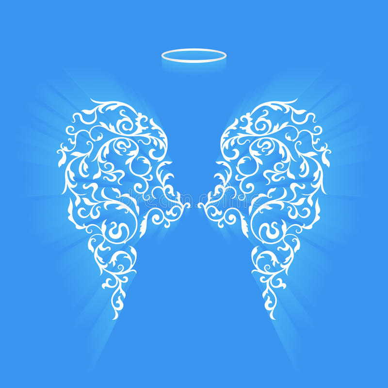 Original floral angel wings and Nimbus royalty free stock photography