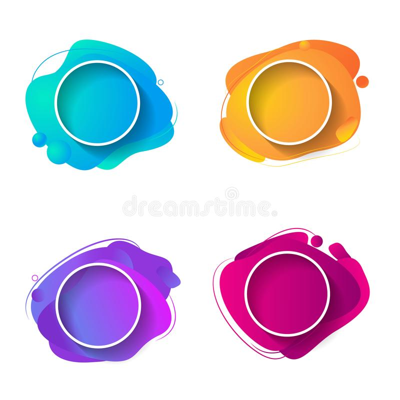 Fluid color badges set. Abstract shapes composition. Eps10 vector. Original fluide combination. Gradient modern style abstraction with composition made of vector illustration