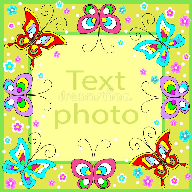Original frame for photos and text. Merry butterflies flutter over the green background and create a festive mood. A perfect gift stock illustration