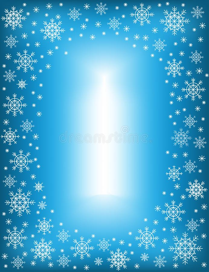 Original frame for photos and text. Openwork snowflakes on a blue background create a festive mood. A wonderful gift for Christmas royalty free illustration