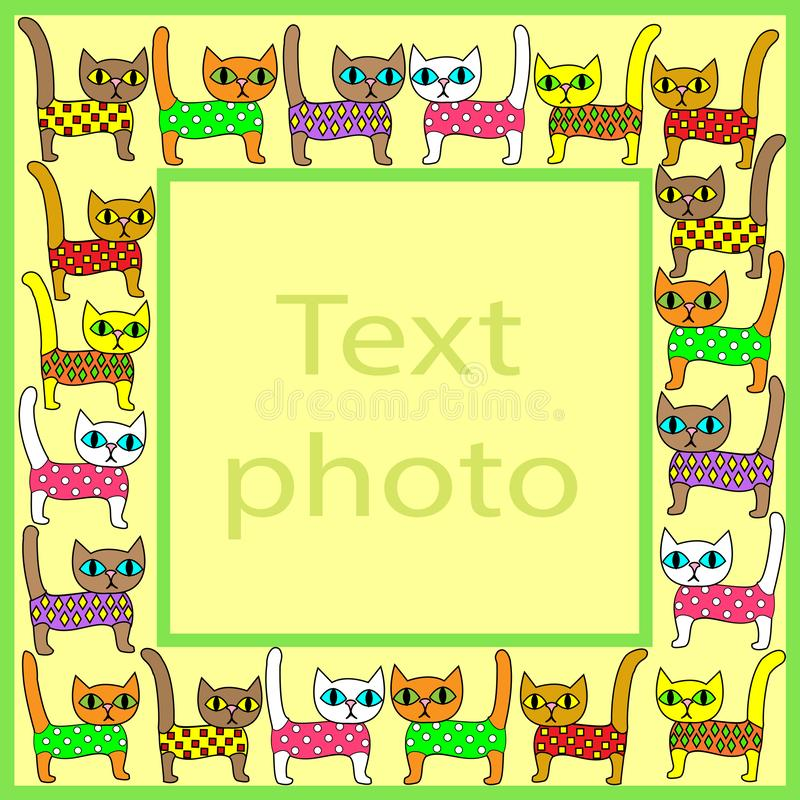 Original frame for photos and text. Picture of pretty colorful kittens. The frame is suitable for gift for both adults and. Children. Vector illustration royalty free illustration