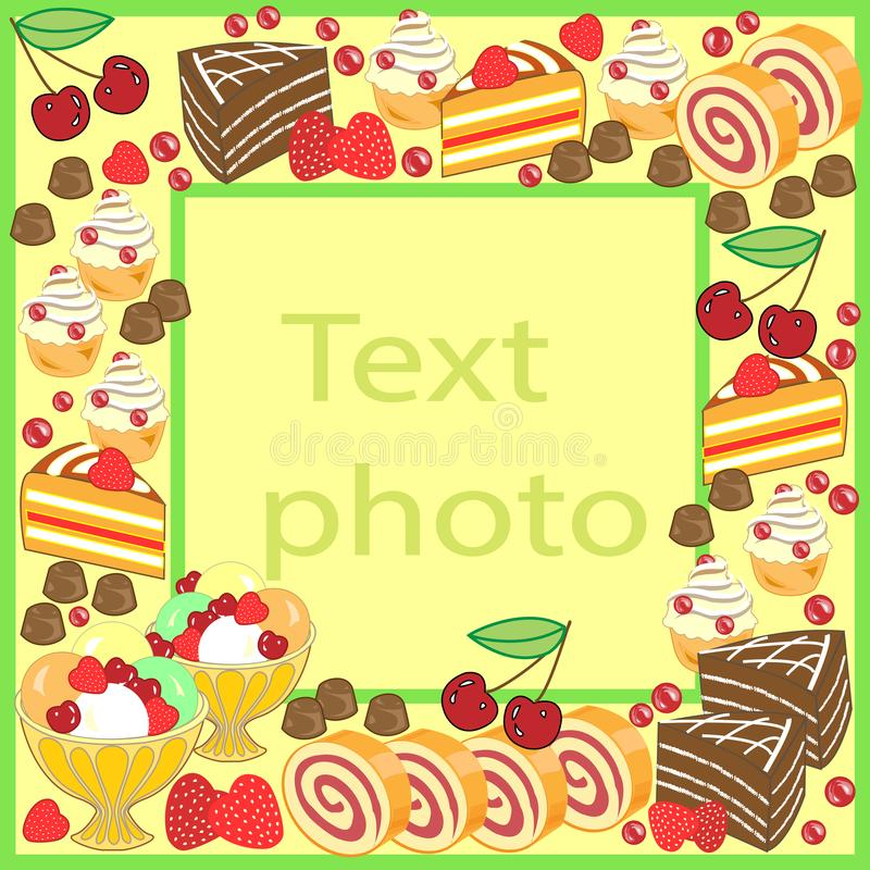 Original frame for photos and text. Sweet cakes create a festive mood. A perfect gift for children and adults. Vector illustration vector illustration
