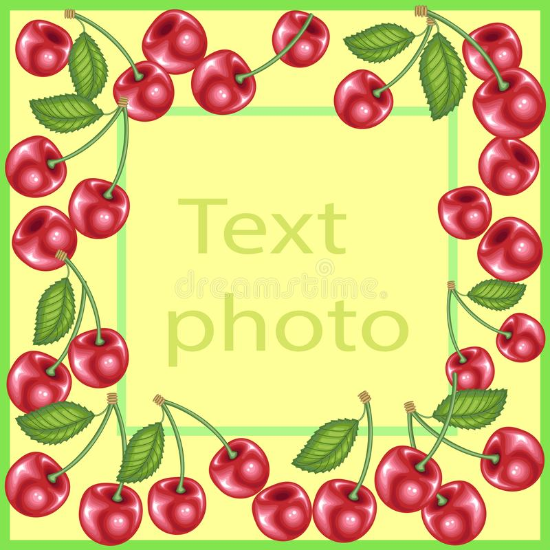 Original frame for photos and text. Sweet juicy cherry berries create a festive mood. A perfect gift for children and adults. vector illustration