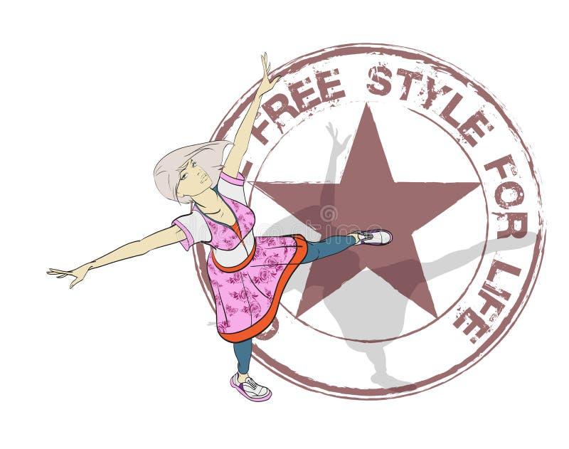 Original free style for life. Stylish fashion model. stock illustration