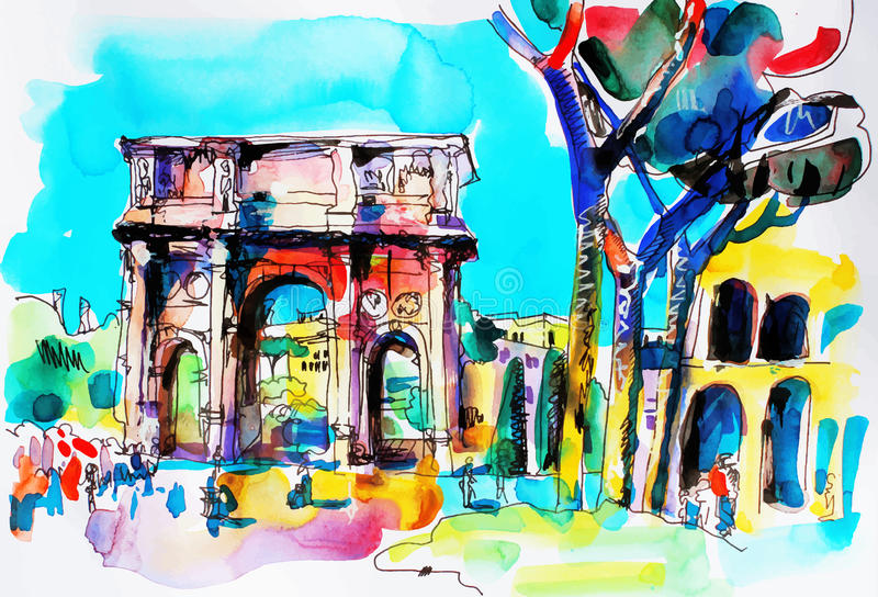 Original freehand watercolor travel card from Rome Italy, old it royalty free illustration