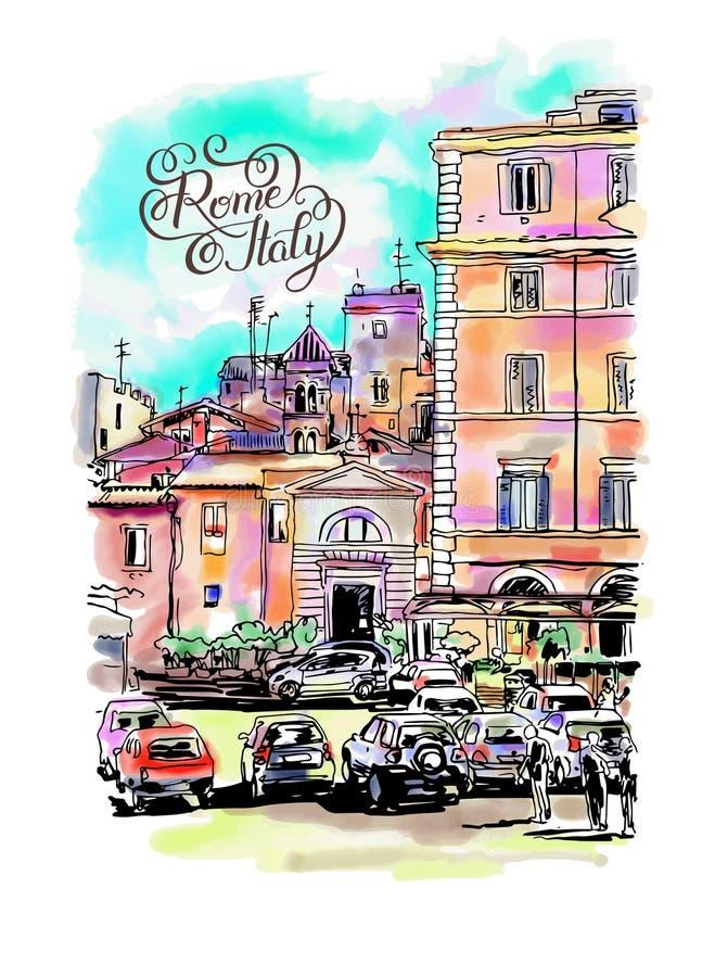 Original- frihandsvattenfärgloppkort från Rome Italien med mummel vektor illustrationer