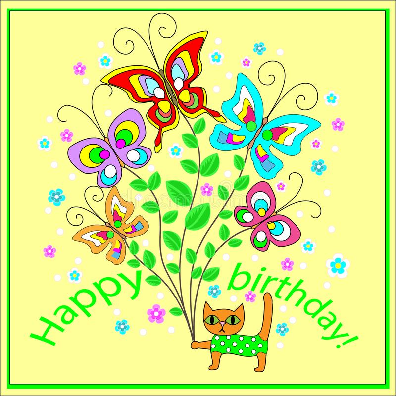 Original greeting card with a happy birthday . A bouquet of merry fluttering butterflies, creating a festive mood of an imitating royalty free illustration