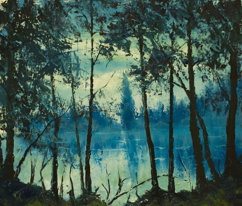 Original- härligt natthav för olje- målning Magiskt trä impressionism vektor illustrationer