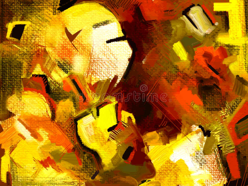 Original hand draw abstract digital painting stock illustration
