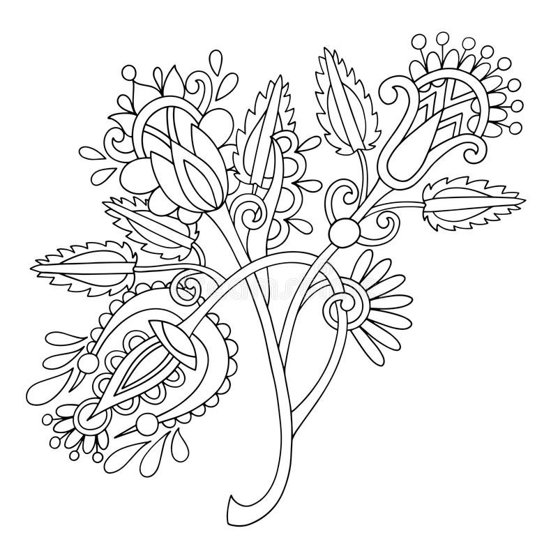 Original hand draw line art ornate flower design. Ukrainian trad. Itional style, vector illustration royalty free illustration
