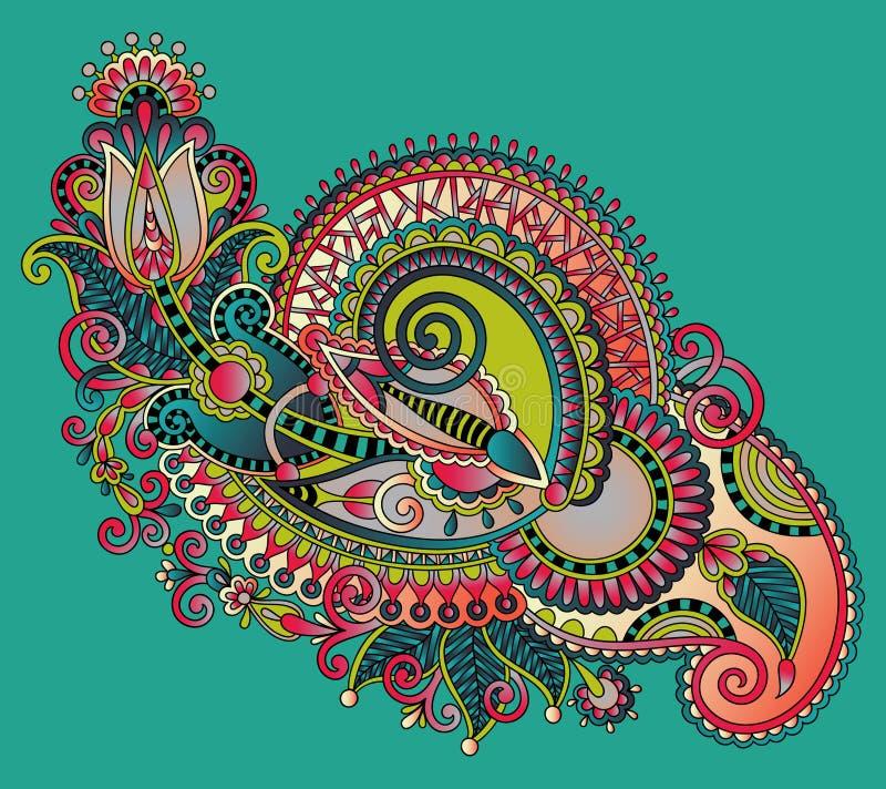 Original hand draw line art ornate flower design. Ukrainian traditional style stock illustration