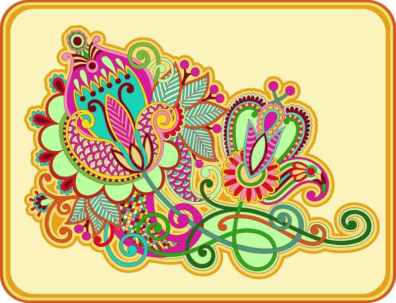 Original hand draw line art ornate flower design. Ukrainian traditional style vector illustration