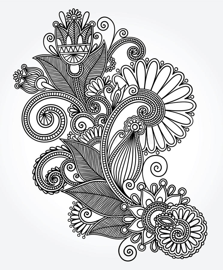 New Line Art Design : Original hand draw line art ornate flower design stock