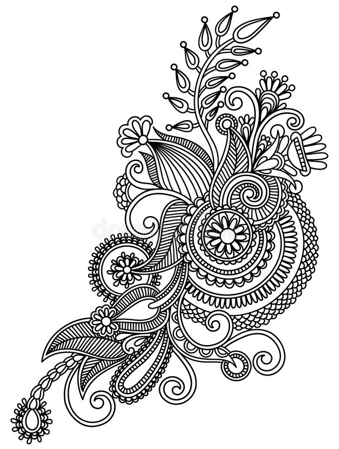 Original hand draw line art ornate flower design. Ukrainian traditional style royalty free illustration