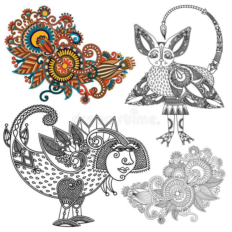 Original hand draw line art ornate flower design. Ukrainian traditional style. Vector set stock illustration