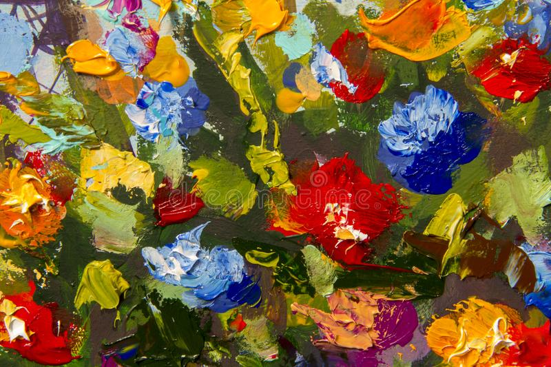 Original handmade abstract oil painting bright flowers made palette knife. royalty free illustration