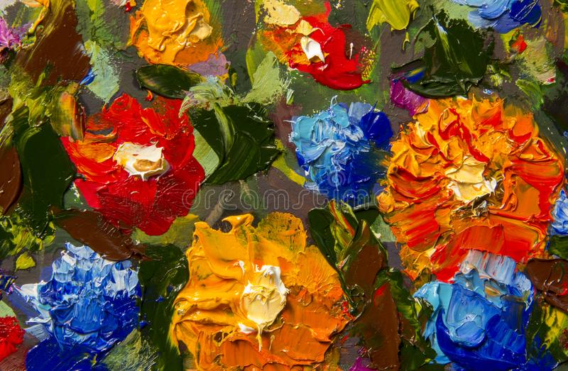 Original handmade abstract oil painting bright flowers made palette knife. stock illustration