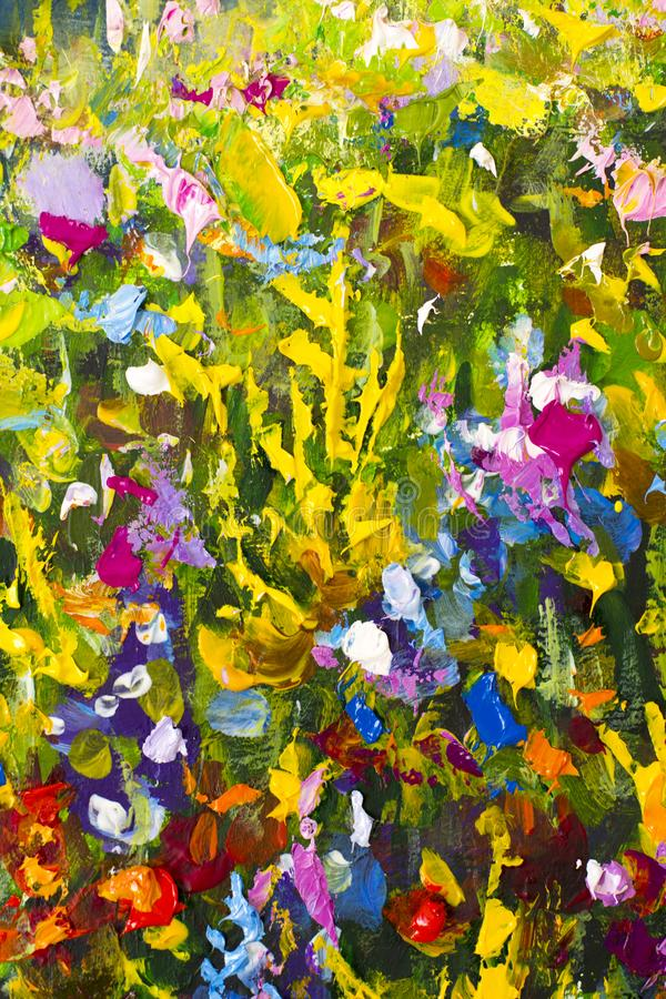 Big texture abstract flowers. Close up fragment of oil painting artistic flowers image. Palette knife flowers macro. Macro artist` stock illustration