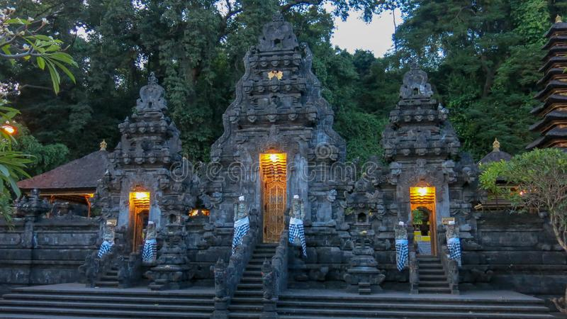 The original Hindu architecture of the temple on Bali island. Bad temple Goa Lawah is a sacred place for ceremonies for believers. royalty free stock photography