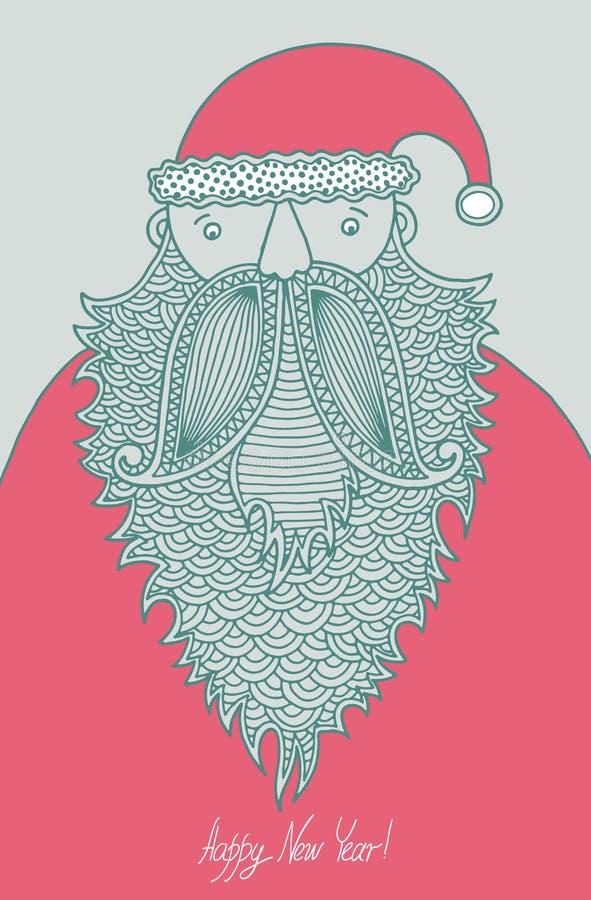 Original- hipster Santa Claus, modern grafisk stil stock illustrationer