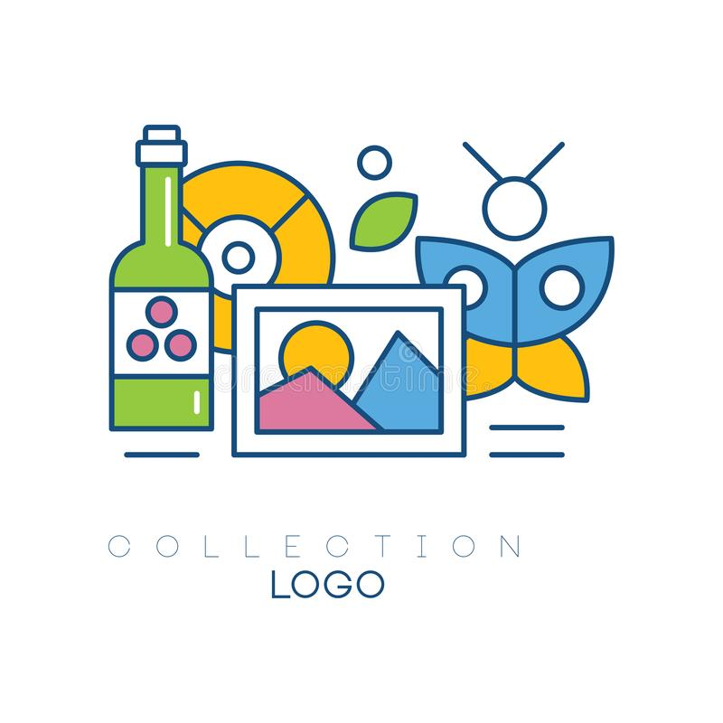 Original hobby emblem with bottle of wine, photograph, butterfly and vinyl record. Simple linear icon with colorful fill royalty free illustration