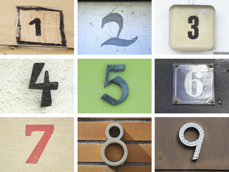 Original house numbers 1 to 9 royalty free stock images