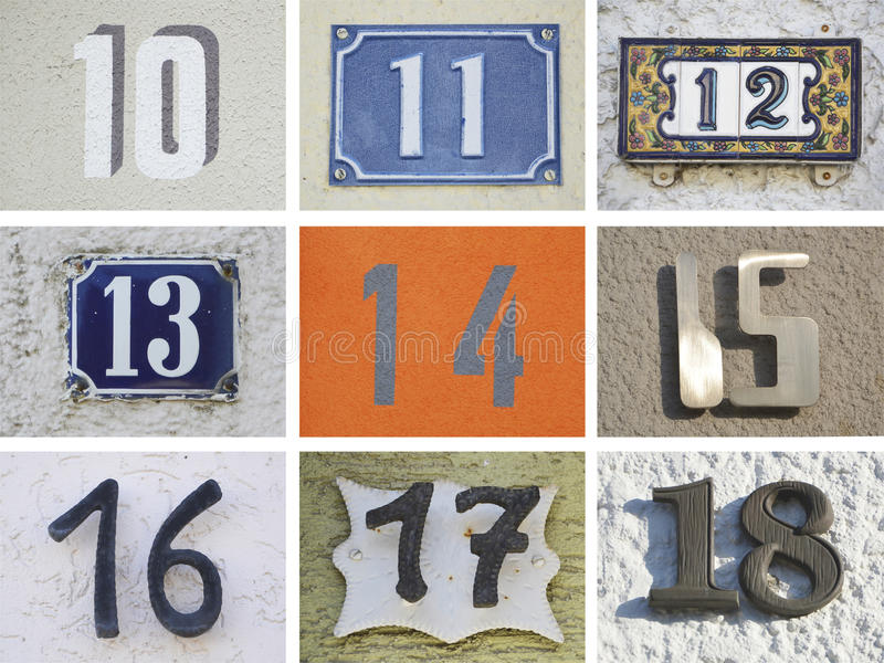 Original house numbers 10 to 18 stock photo