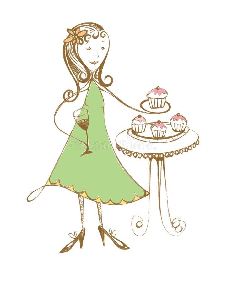 Original- illustration, födelsedagflicka arkivfoton