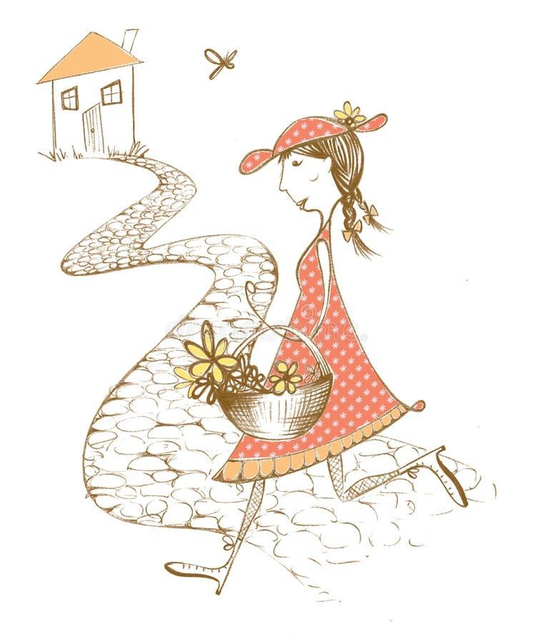 Original- illustration, hem- flicka royaltyfri bild