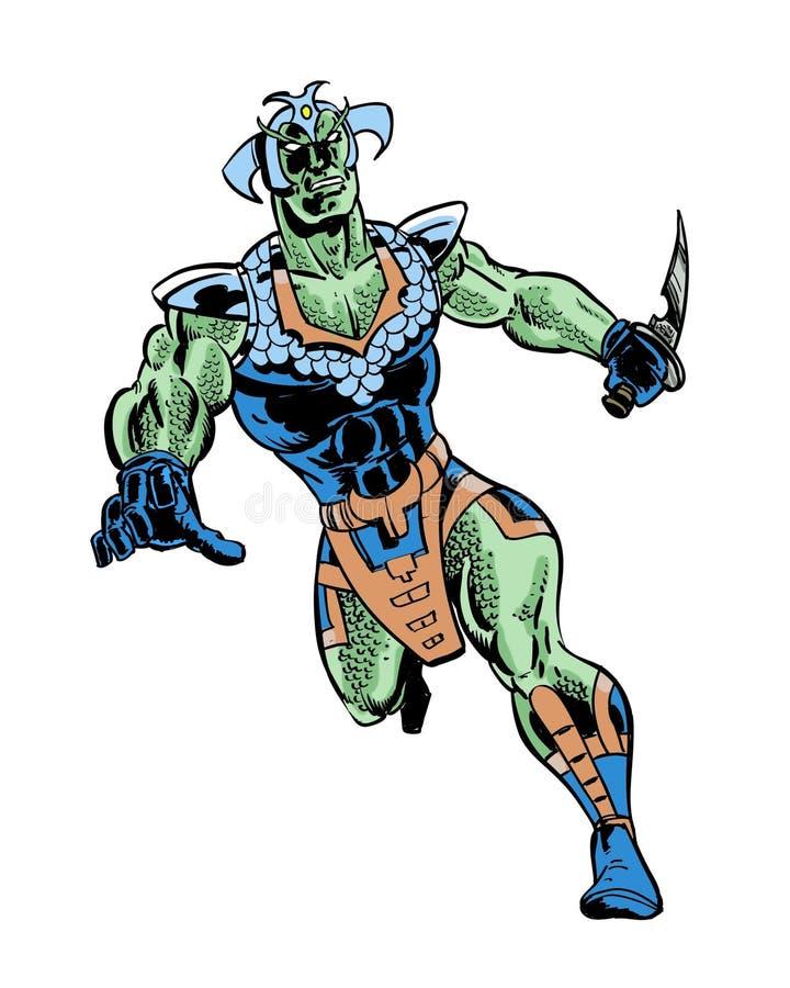 Original- illustrerat tecken för fishman komiker vektor illustrationer