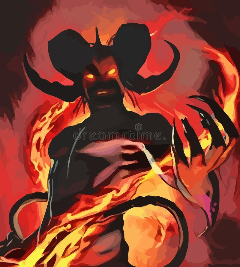 The original  image of the demon. Original  image graphic drawing demon fire horns satan devil pentogram hell stock illustration