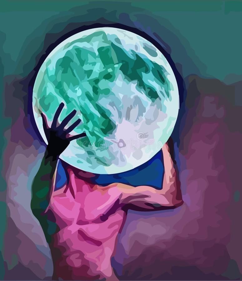 Original  image guy holds moon. Original  image graphic design drawing guy man holding the moon, full moon non-standard stock illustration