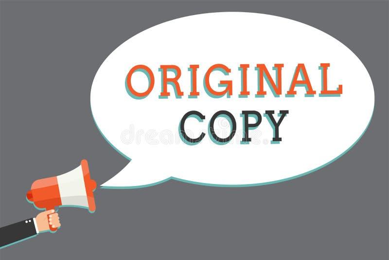 Original- kopia för ordhandstiltext Affärsidé för man för ledar- lista för huvudsaklig skrift icke-utskriven märkt patenterad hål royaltyfri illustrationer