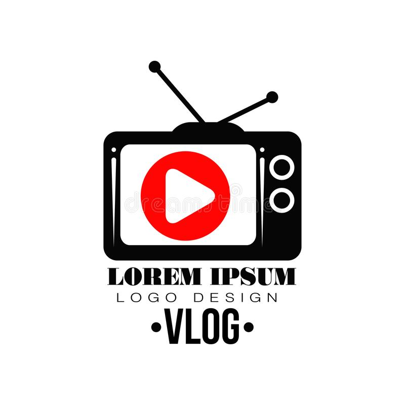 Original vector label with red play button on retro TV screen. Logo for your Youtube channel. Concept of web television stock illustration