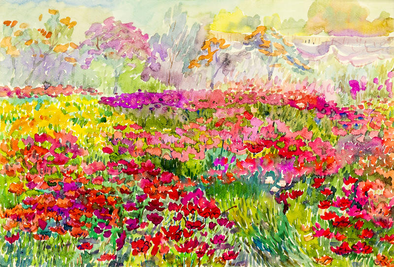 Original- landskap för vattenfärgmålning som är färgrikt av blommafält i trädgård royaltyfri illustrationer