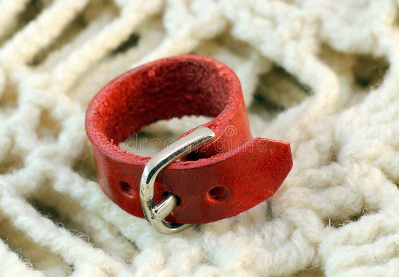 Original leather handmade ring stock photography