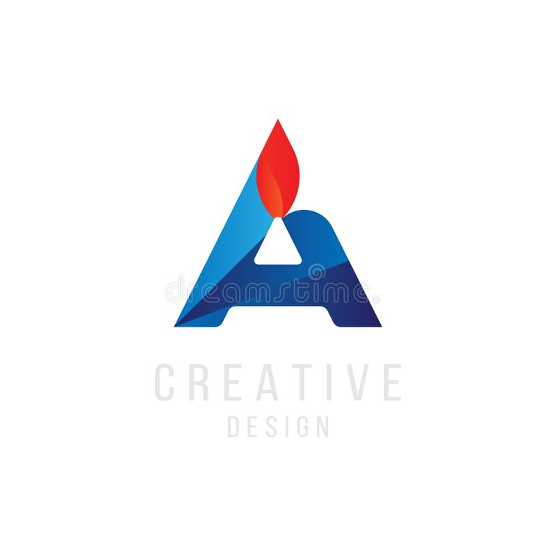 Original Letter A in blue colour with fire for logotype. Vector sign logo design template. Flat illustration EPS10 stock illustration