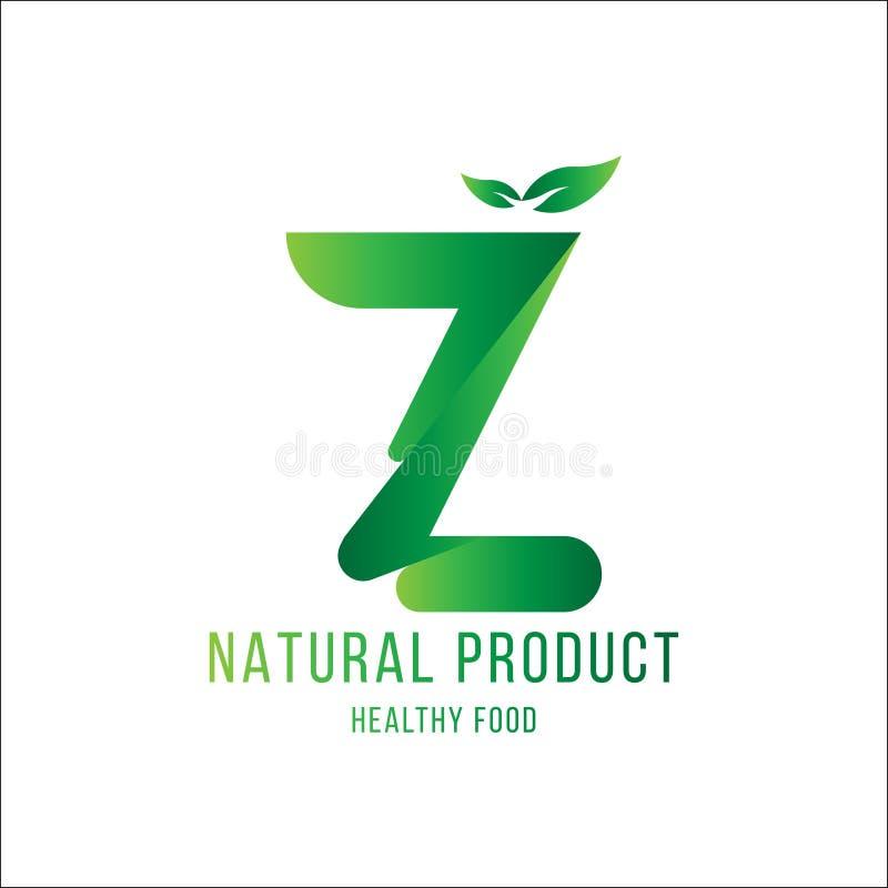 Original Letter Z for logotype. Natural product with green tree leaf for logo world ecology. Flat Vector Illustration EPS10 vector illustration