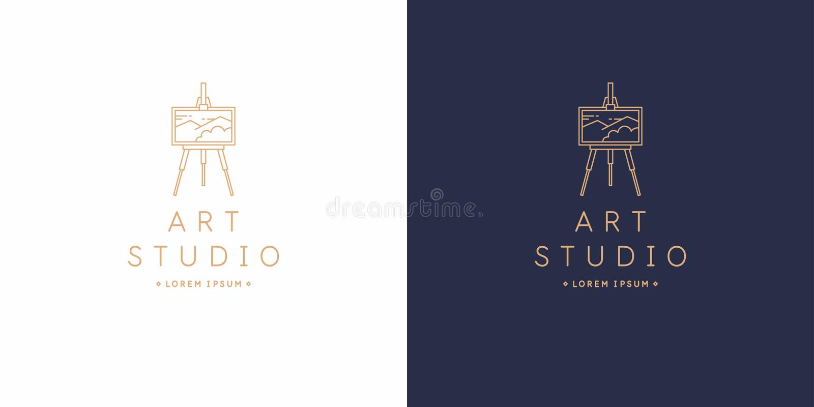 The original linear image of the art Studio. Isolated vector emblem. stock illustration