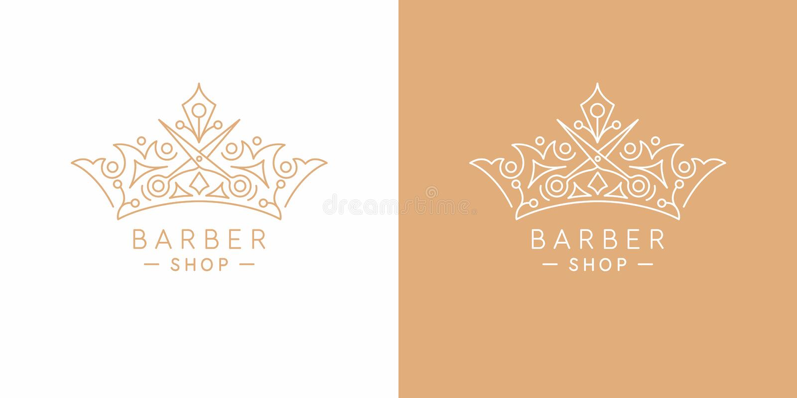 The original linear image of the crown. Illustration in simple flat style. Sign for barber shop. royalty free illustration