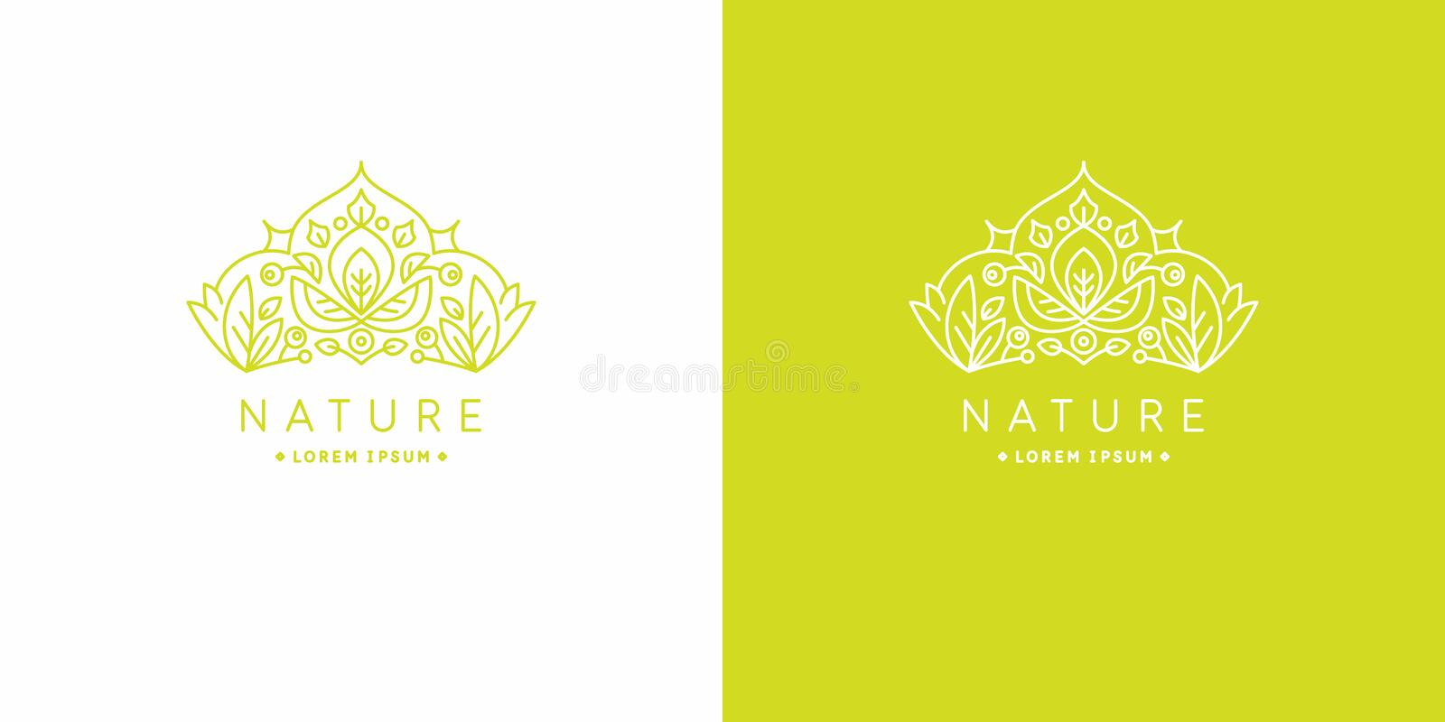 Original linear image of the crown. Illustration in simple flat style. Sign for natural cosmetics shop. The original linear image of the crown. Isolated vector royalty free illustration