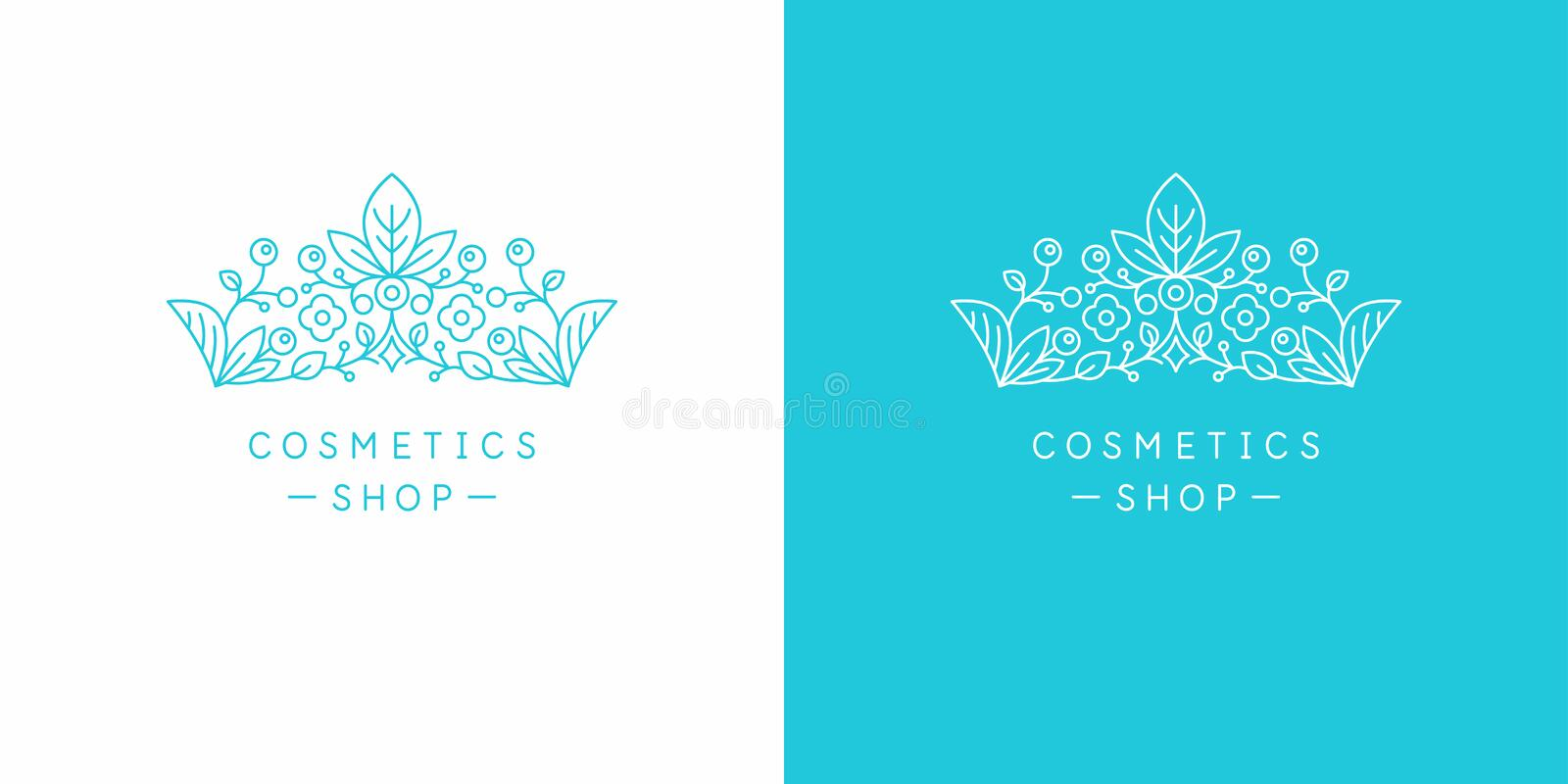 Original linear image of the crown. Illustration in simple flat style. Sign for natural cosmetics shop. The original linear image of the crown. Isolated vector vector illustration