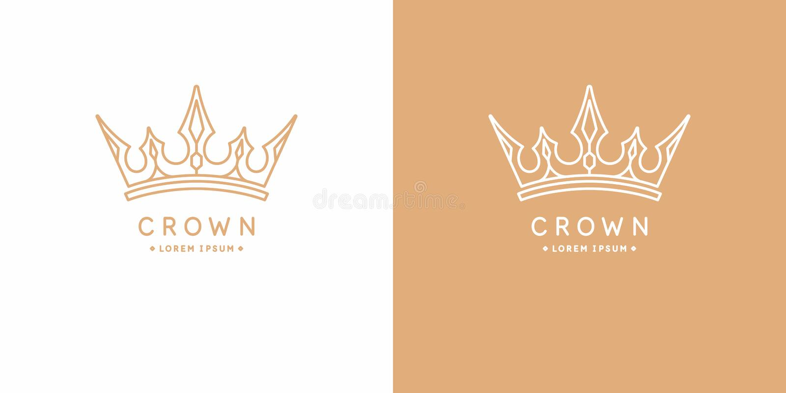 Original linear image of the crown. Isolated vector emblem. Illustration in simple flat style. vector illustration