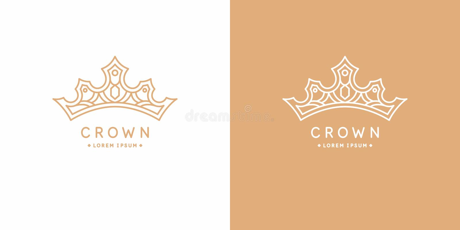 Original linear image of the crown. Isolated vector emblem. Illustration in simple flat style. stock illustration