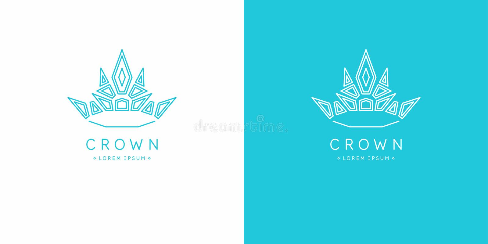 Original linear image of the crown. Isolated vector emblem. Illustration in simple flat style. royalty free illustration