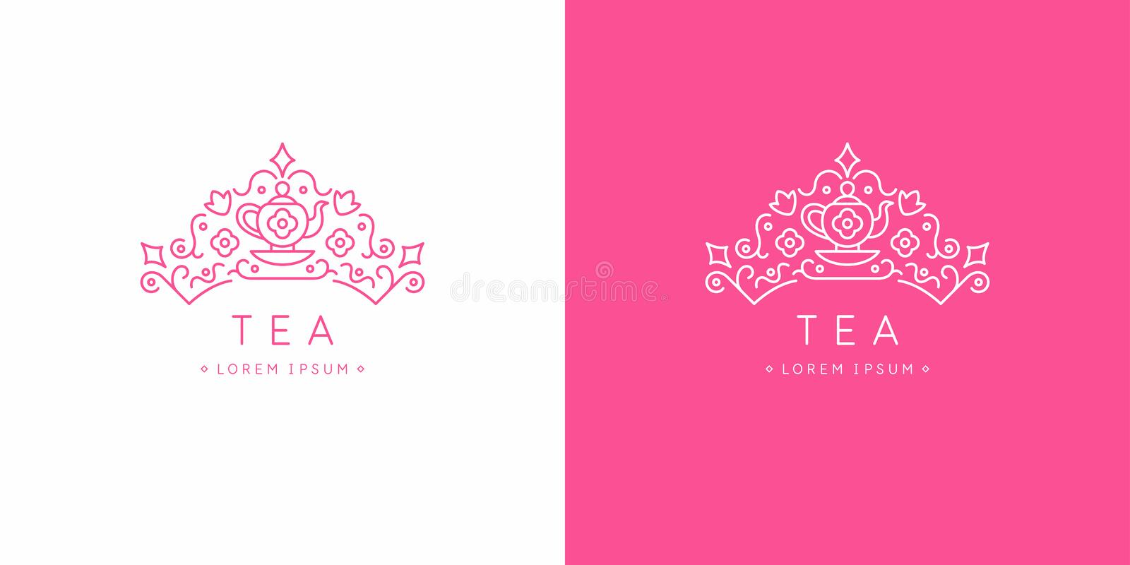 Original linear image of the crown. Isolated vector emblem. Illustration in simple flat style. Sign for tea company. royalty free illustration